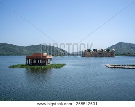 Jal Mahal Is A Building Located In The Middle Of Man Sagar Lake In Jaipur, Rajasthan State.