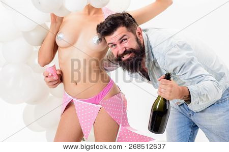 Stag Party. Birthday Stripper For Him. Man Bearded Happy Bachelor Celebrate With Champagne. Hipster