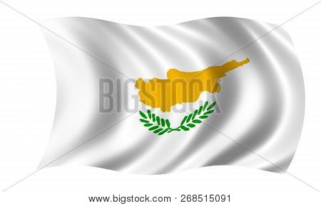 Cyprian Flag In The Colors Green, White And Yellow