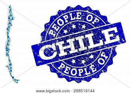 People Combination Of Blue Population Map Of Chile And Rubber Seal Stamp. Vector Imprint With Grunge