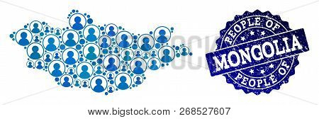 People Combination Of Blue Population Map Of Mongolia And Grunge Seal. Vector Imprint With Grunge Ru