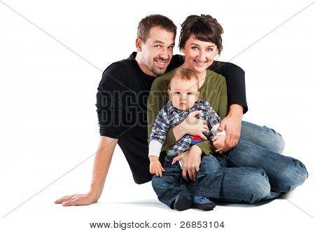 Photo of a new family enjoying isolated on white background