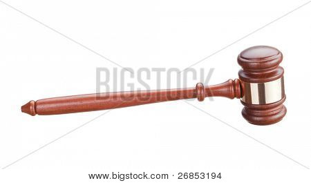Auction bidding hammer isolated on white