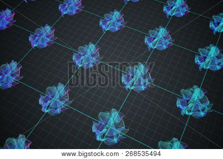 Structure of extra dimensions in String theory in physics. 3D rendered illustration. poster