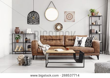 Leather Sofa With Pillows And Blanket In The Middle Of Elegant Living Room Interior With Metal Shelv