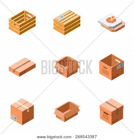 Package Icon Set. Isometric Set Of 9 Package Vector Icons For Web Design Isolated On White Backgroun