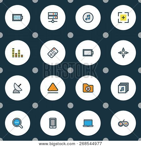 Media Icons Colored Line Set With Quarter, Charge, Audio Mixer And Other Media Folder Elements. Isol