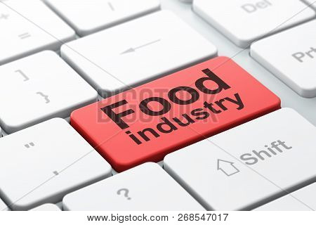 Manufacuring Concept: Computer Keyboard With Word Food Industry, Selected Focus On Enter Button Back