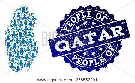 People Collage Of Blue Population Map Of Qatar And Rubber Seal. Vector Seal With Distress Rubber Tex