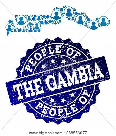 People collage of blue population map of the Gambia and rubber stamp. Vector seal with distress rubber texture. Mosaic map of the Gambia designed with rounded users. Flat design for patriotic posters. poster