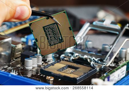 Electronic Engineer Of Computer Technology. Maintenance Computer Cpu Hardware Upgrade Of Motherboard