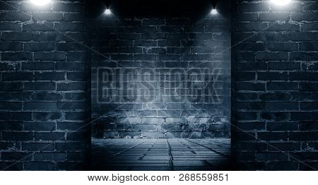 Background Of A Dark Room With Brick Walls And Concrete Floor. Neon Light, Spotlight, Smoke, Fog, Sm