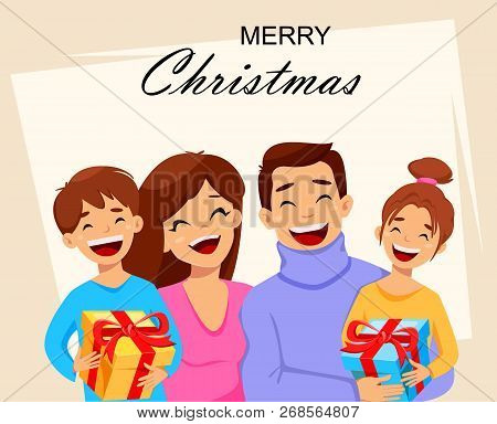 Merry Christmas Greeting Card With Happy Family. Usable For Greeting Card, Poster, Flyer. Vector Ill