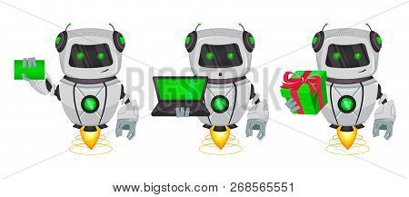 Robot With Artificial Intelligence, Bot, Set Of Three Poses. Funny Cartoon Character Holds Blank Bus