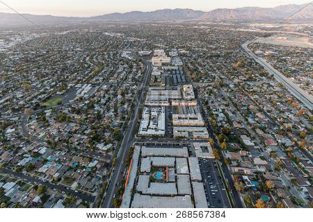 Aerial view towards Woodman Ave and Panorama City in the San Fernando Valley region of Los Angeles, California.