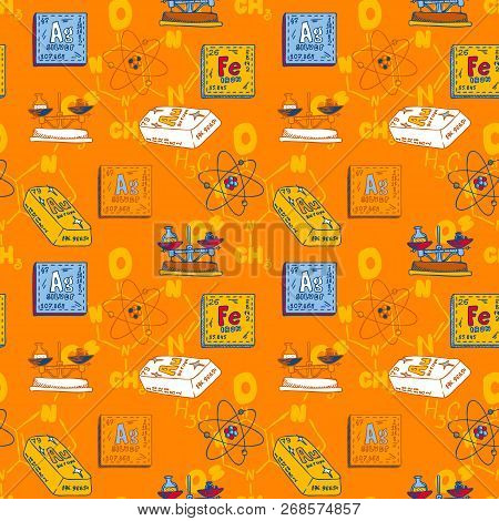 Chemistry Periodic Substance Seamless Pattern. Hand Drawn Illustration Of Chemistry Periodic Substan