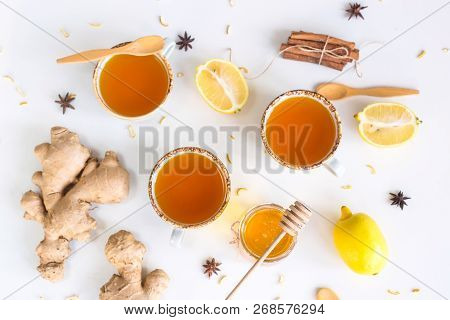 Tea With Turmeric Among Products For Improving Immunity And Treating Colds - Ginger, Lemon, Honey, A
