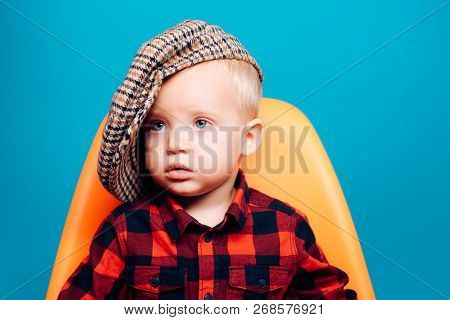 Cute And Fashionable. Small Baby In Fashionable Wear. Small Child. Boy Child With Fashion Look. Fash
