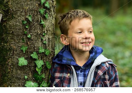 Its Just A Fun. Little Boy Have Fun Outdoor. Little Boy Enjoy Fun Time In Park. Enjoying The Little