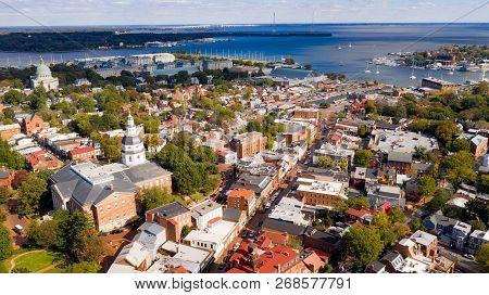 Aerial; Cityscape; Place; Landmark; Md; Street; Scene; Annapolis; Architecture; Historic; Sunset; Lo