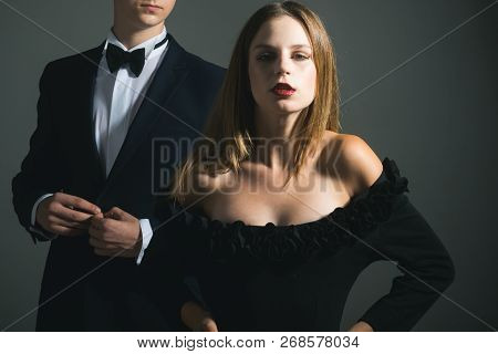 Date Of Beautiful Couple. Valentines Day. Love. Loving Couple Together At Business Meeting. Cute Man