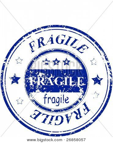Abstract rubber grunge office stamp with the word fragile