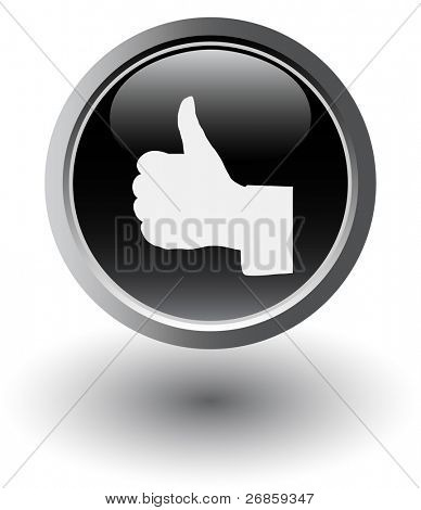 thumbs up web black button on white
