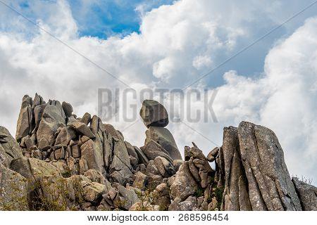 Closeup View Of Omu Di Cagna (uomo Di Cagna) On The Island Of Corsica. The Granite Rock Is Balanced