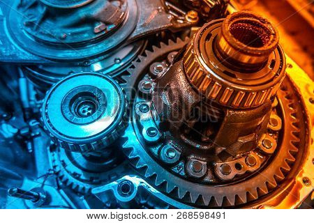 Car Automatic Transmission Gears. Automotive Repair Workshop Garage Mechanic. Dual Tone Lighting Blu