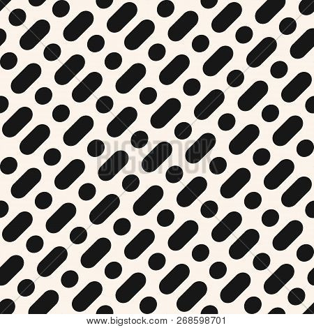 Vector Minimalist Monochrome Seamless Pattern. Simple Geometric Background With Diagonal Rounded Lin