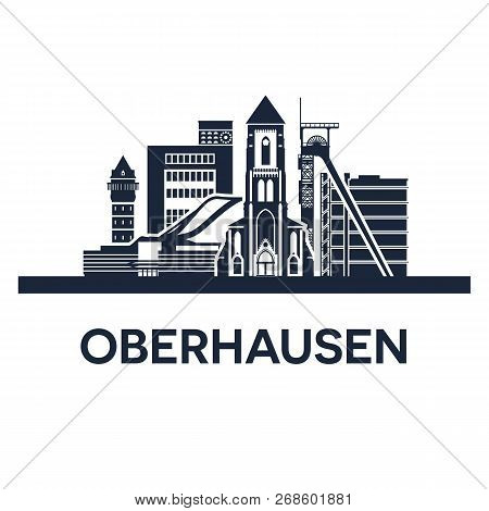 Oberhausen City Skyline. Germany, Ruhr Area. Solid Color.