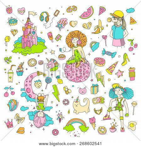 Colored Set Of Teenage Girl Icons, Cute Cartoon Teen Objects, Fun Stickers, Patches Design Vector In