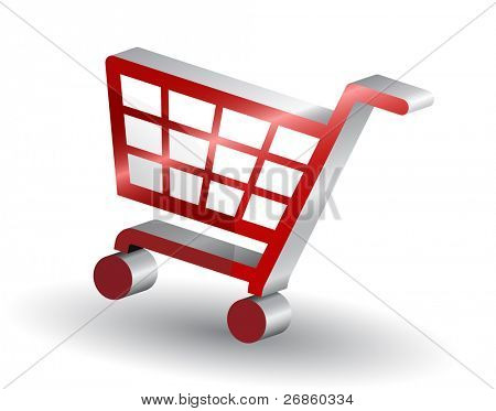 Red shopping basket sign, 3d