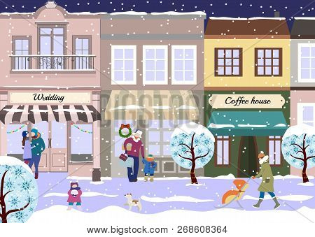 Winter Christmas Street Of Small City. View Of City Street With Shops And Coffee House In Winter. Sn