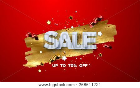 Sale Banner Design. Vector Illustration Of Paper Sale Badge With Confetti Particles And Stars On Gol