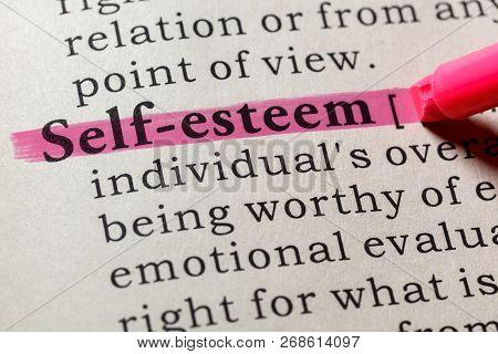 Fake Dictionary, Dictionary Definition Of The Word Self-esteem . Including Key Descriptive Words.