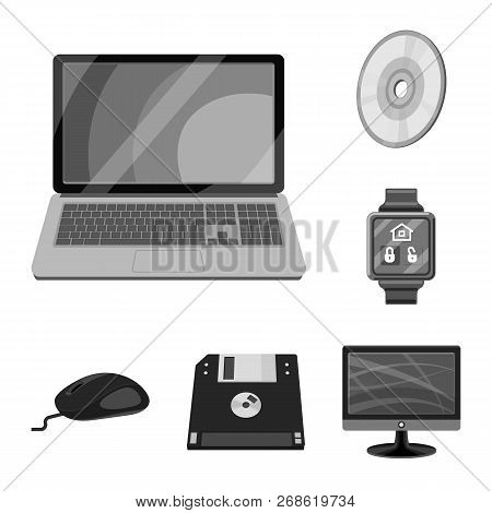 Vector Illustration Of Laptop And Device Icon. Set Of Laptop And Server Stock Vector Illustration.