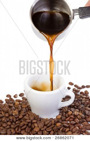 hand outpouring coffee in cup