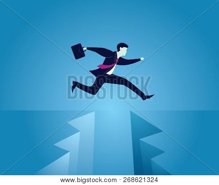 Business Conquering Obstacles Challenge Concept. Businessman Taking Risk Jumping Over Gap, Vector Il