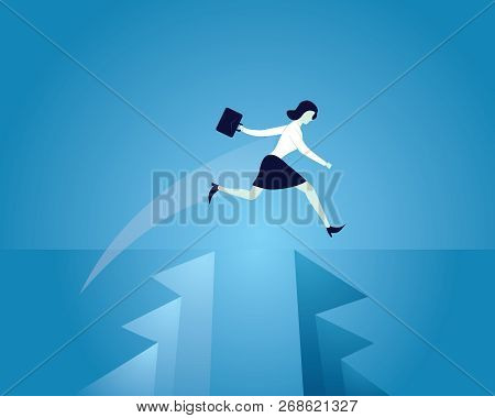Business Conquering Obstacles Challenge Concept. Businesswoman Taking Risk Jumping Over Gap, Vector