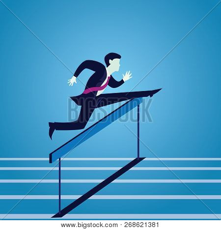 Vecor Illustration, Businessman Running Jumping Over Obstacle Hurdles On Track, Business Challenge C
