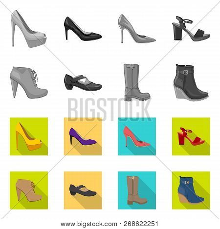 Vector Illustration Of Footwear And Woman Logo. Set Of Footwear And Foot Stock Vector Illustration.