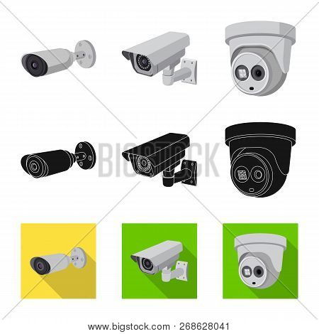 Vector Illustration Of Cctv And Camera Logo. Set Of Cctv And System Stock Symbol For Web.
