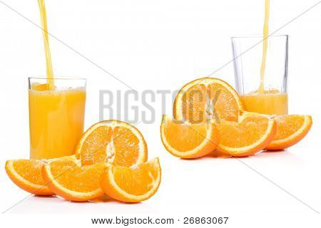 orange slices and outpouring juice