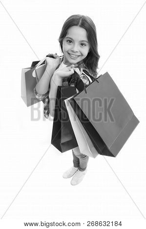 Girlish Happiness. Kid Girl Happy Smiling Face Carries Bunch Packages White Background. Birthday Gir