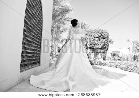 Fashion. Wedding Fashion Concept. Fashion Model On Wedding Dress. Bride In Fashion Dress For Wedding