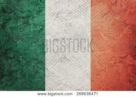 Grunge Ireland Flag. Irish Flag With Grunge Texture.