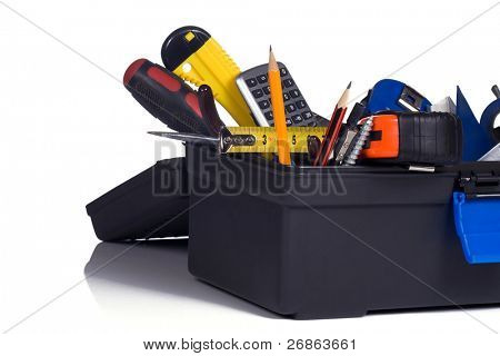 plastic box full of tools