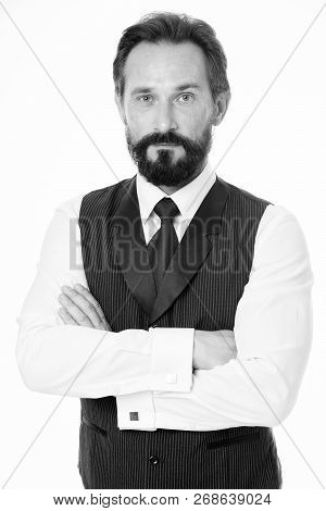 Confident And Successful. Businessman Classic Formal Clothing Hold Hands Crossed On Chest. Business