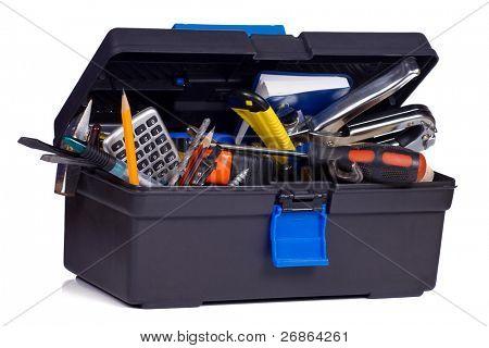 kit of tools in black box